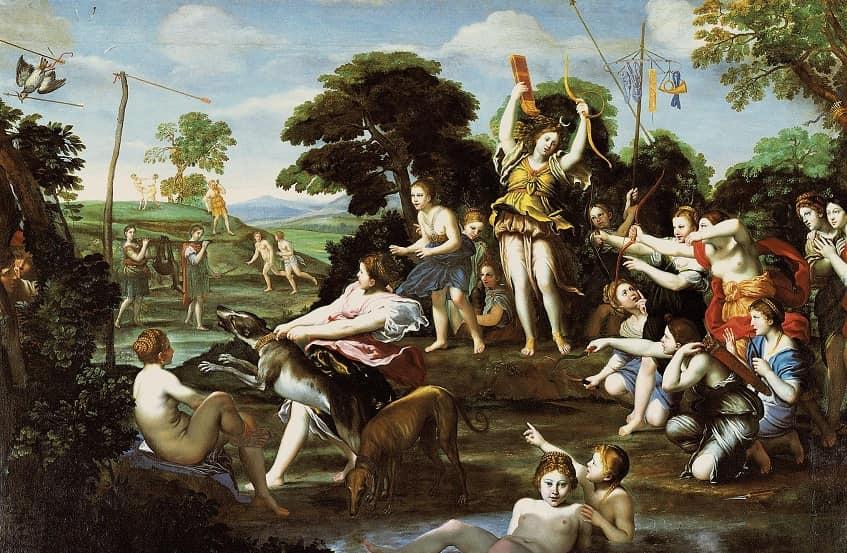 Доменикино - Охота Дианы - картина