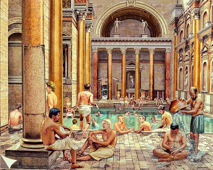 Римляне принимают ванны - гравюра