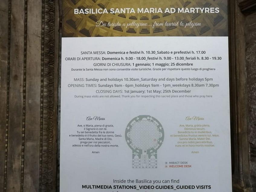 Basilica Santa Maria ad Martyres - Пантеон (Режим работы) - фото