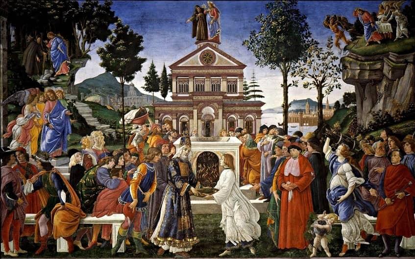 Искушение Христа - фреска Боттичелли
